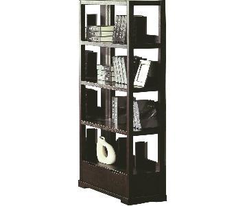 Modern Style Bookcase in Wenge Finish w/ Bottom Utility Drawer