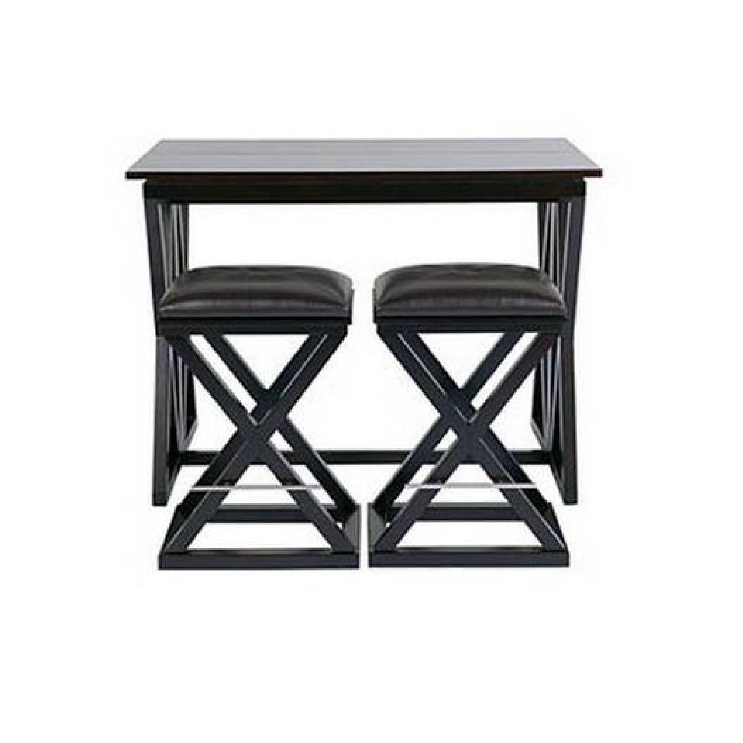 Glass Wood Dining Table, Z Gallerie X Base Expandable Bar W 2 Stools Aptdeco