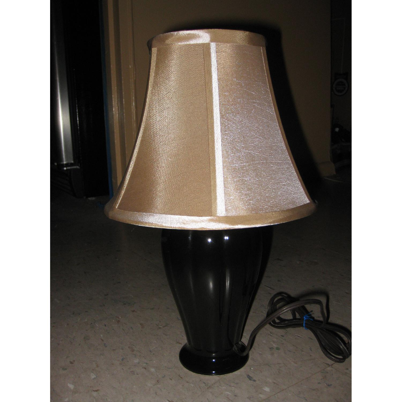 Bloomingdale's Curvey Black Table Lamp & Shade - image-2
