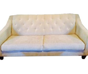 Raymour Amp Flanigan Cream Tufted Microsuede Sofa