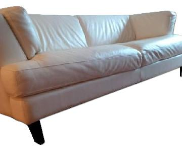 Bloomingdale S Cream Leather Couch