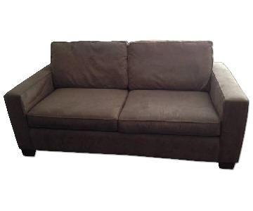 Brown Gray Microsuede Couch