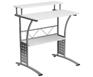 Clifton Style White Desk with Silver Frame