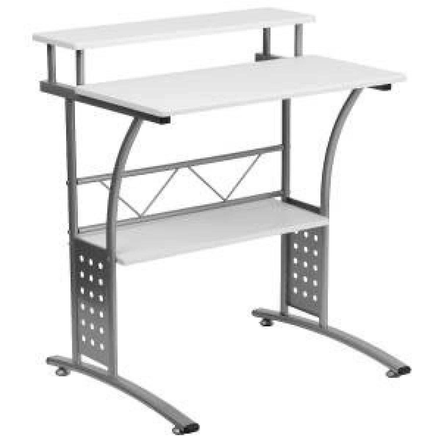 Clifton Style White Desk with Silver Frame-0