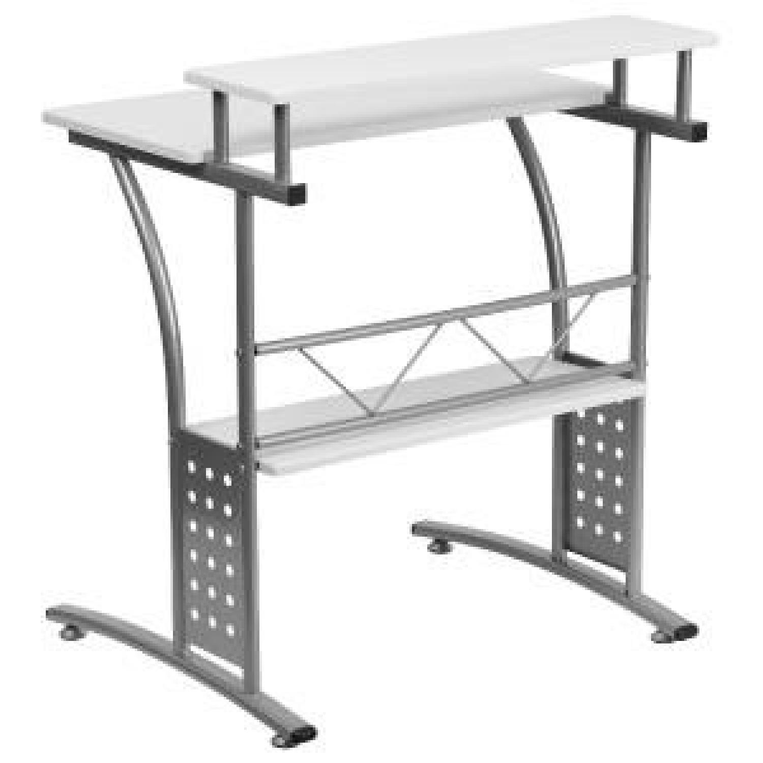 Clifton Style White Desk with Silver Frame-1