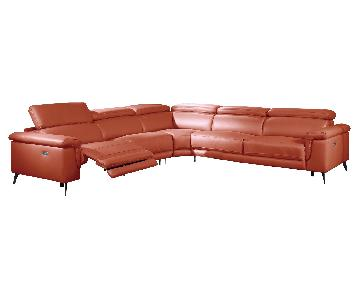 Modern Sectional in Orange Top Grain Leather w/ Matching Faux Leather w/ 2 Powered Recliners & Adjustable Headrests