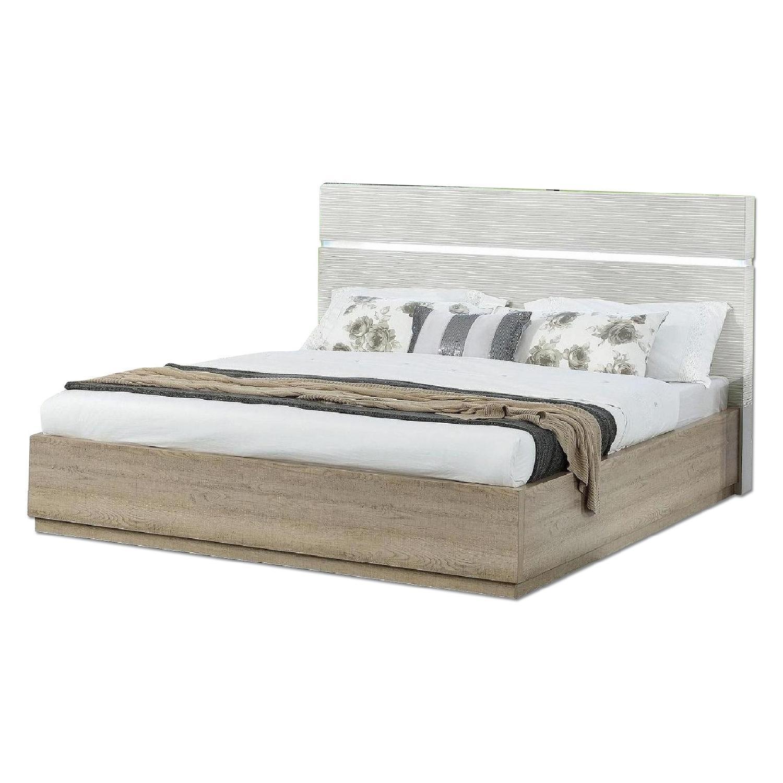 Modern Platform Bed in 2-Tone Gloss Beige/Matte Natural w/ LED Lighting in Headboard & Line-Etched Design