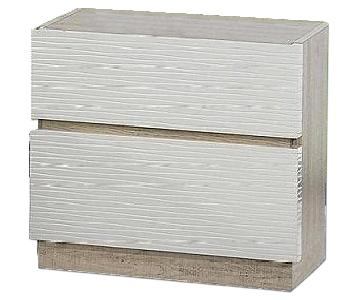 Modern 2-Drawer Nightstand in 2-Tone Gloss Beige/Matte Natural w Line-Etched Design on Drawer Faces