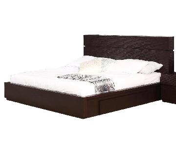 Full Size Modern Platform Bed With Storage Base in Wenge Fin