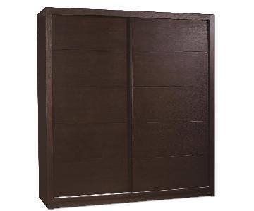 Modern Sliding Door Wardrobe in Wenge Finish w/ Shelf/Hanging Bar & 2 Bottom Drawers