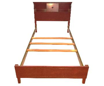 Solid Wood Twin Size Bed Frame & Bookcase Headboard w/ Slidi