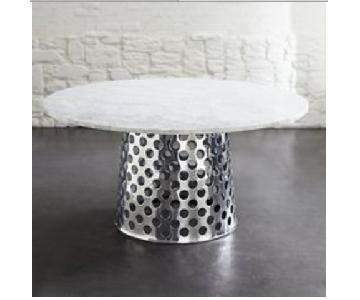 Crate & Barrel Round Carrara Marble Table