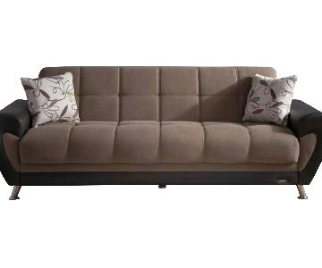 Bellona Sofabed w/ Storage & Throw Pillows