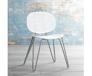 Crate & Barrel Paoloa Navone White Metal Chairs