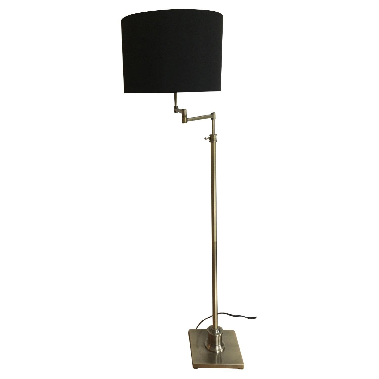 Lamps Plus Brass Swing Arm Floor Lamp w/ Black Shade