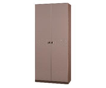 Modern 2-Door Wardrobe in 2-Tone Gloss Beige & Matte Walnutl Finish w/ Etched Design