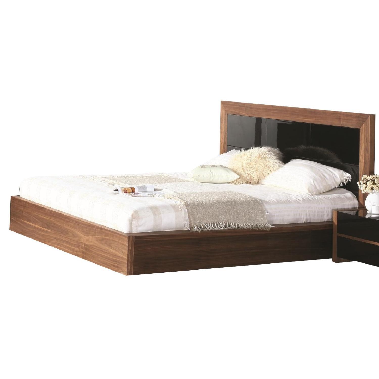 King Size Modern Platform Bed in 2-Tone Walnut & High Gloss Black Finish