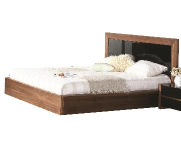 King Size Modern Platform Bed in 2-Tone Walnut & High Gloss