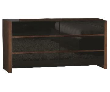Modern 6-Drawer Dresser in in 2-Tone Walnut & High Gloss Black Finish