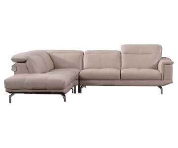 Modern Sectional in Taupe Color Top Grain Leather w/ Matching Faux Leather Adjustable Headrests/Tufted Sides & Chrome Legs