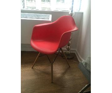 DHP Mid Century Modern Molded Arm Red Chair w/ Wood Leg