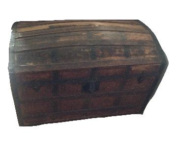 Domed Camelback Saratoga Large Antique Trunk