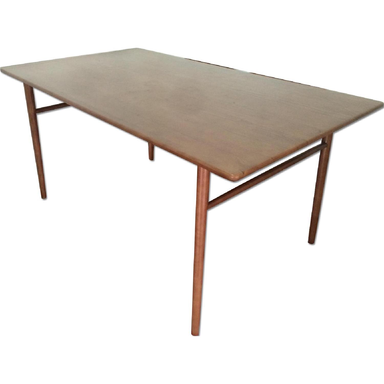 Mid Century Danish Modern Solid Wood Dining Table AptDeco - Solid wood mid century dining table