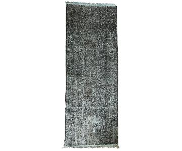 Vintage Overdyed Distressed Gallery Rug Runner