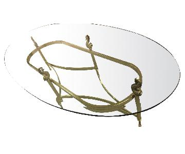 Vintage Glass & Brass Oval Coffee Table