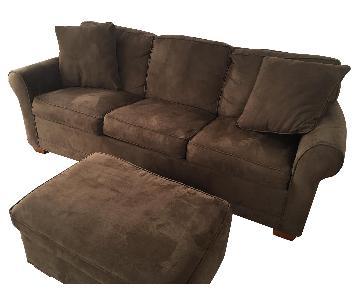 Raymour & Flanigan Microfiber Sleeper Sofa & Ottoman