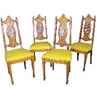 Vintage Mid Century Carved Cane Side/Dining Chairs