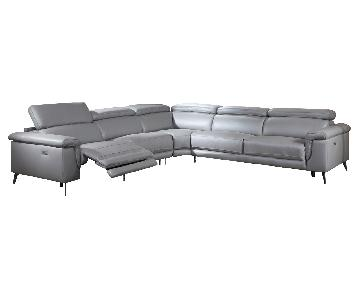 Modern Sectional in Gray Top Grain Leather w/ Matching Faux Leather w/ 2 Powered Recliners & Adjustable Headrests
