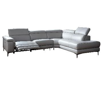 Modern Sectional in Gray Top Grain Leather w/ Matching Faux Leather w/ a Powered Recliner & Adjustable Headrests