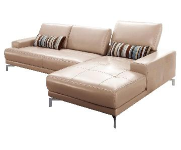 Modern Sectional in Taupe Color Top Grain Leather w/ Matching Faux Leather With Tufted Seats & Adjustable Headrests