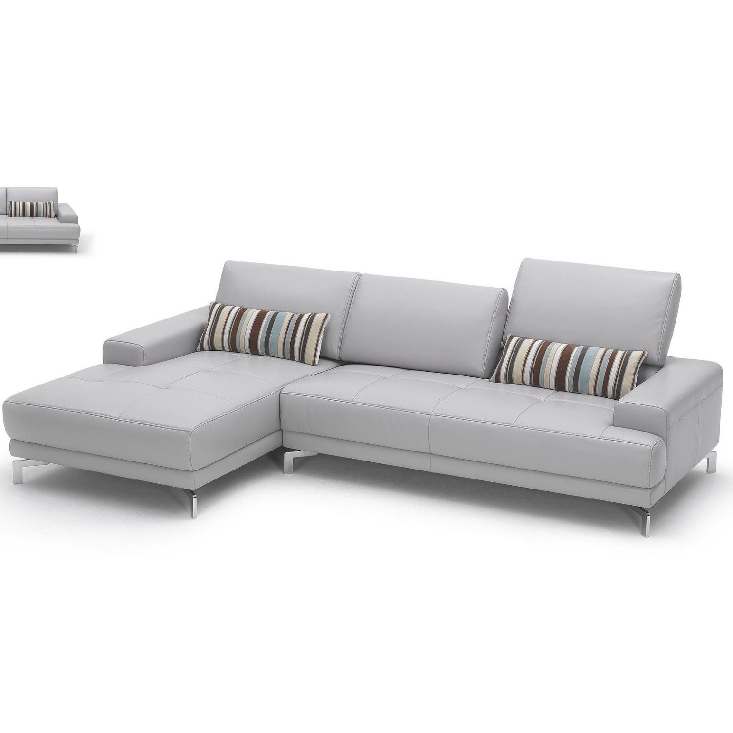 Modern Sectional in Gray Top Grain Leather w/ Matching Faux