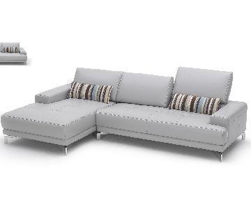 Modern Sectional in Gray Top Grain Leather w/ Matching Faux Leather With Tufted Seats & Adjustable Headrests