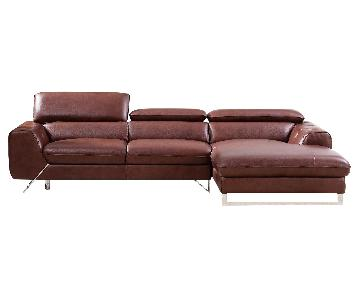 Modern Sectional in Medium Brown Top Grain Leather w/ Matching Faux Leather, Adjustable Headrests & Chrome Legs