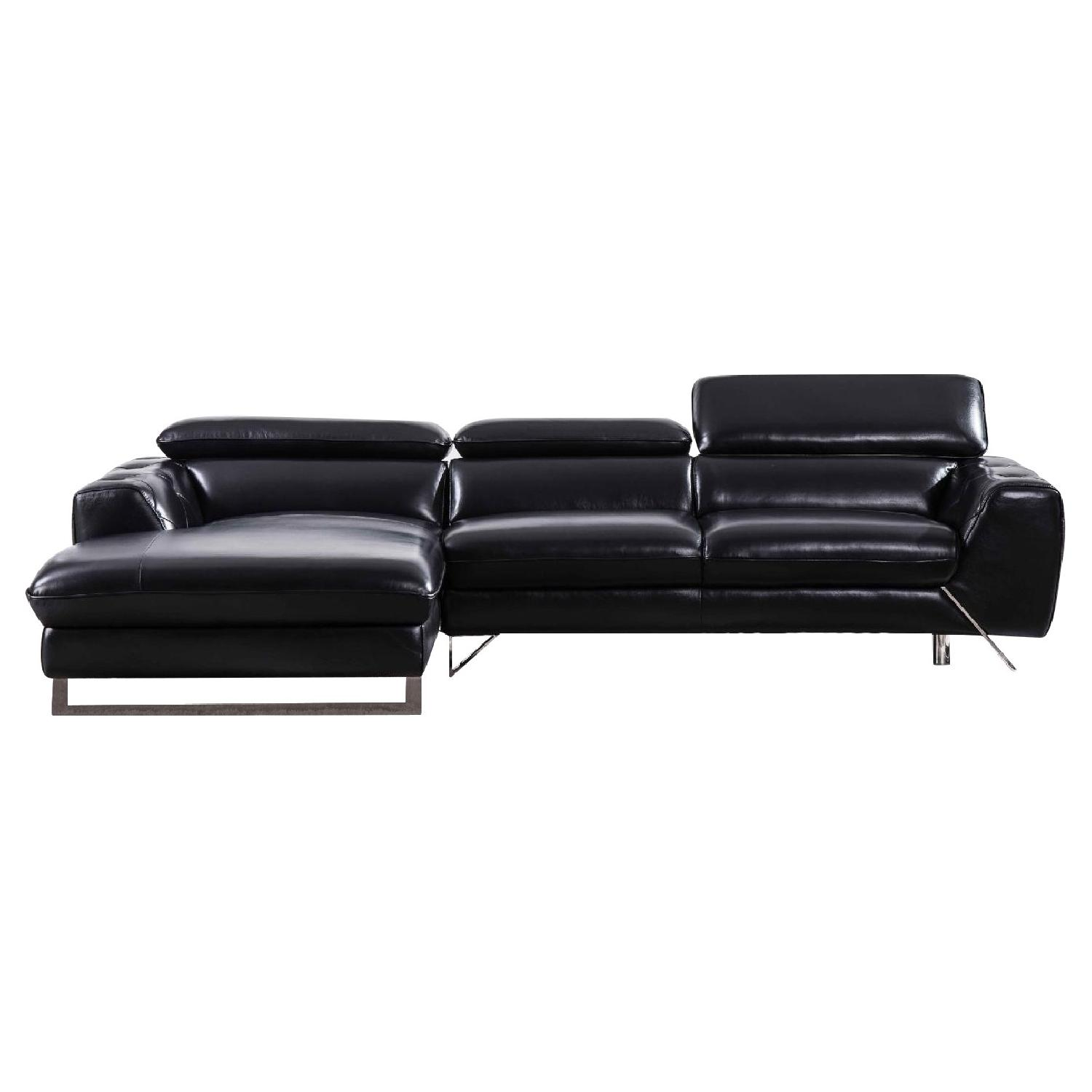 Modern Sectional In Black Top Grain Leather W/ Matching Faux