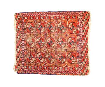 Vintage Distressed Turkmen Square Rug