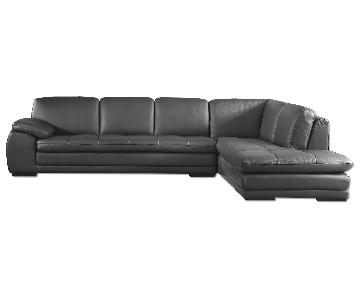 Modern Sectional Sofa in Top Grain Leather w/ Matching Faux Leather & Tufted Seat Design