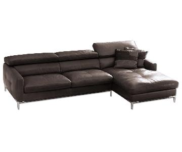 Modern Sectional Sofa in Dark Brown Top Grain Full Leather w/ Adjustable Headrests/Tufted Seats & Chrome Legs