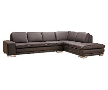 Top Grain Full Leather Modern Sectional Sofa in Dark Brown w/ Tufted Seats & Chrome Legs