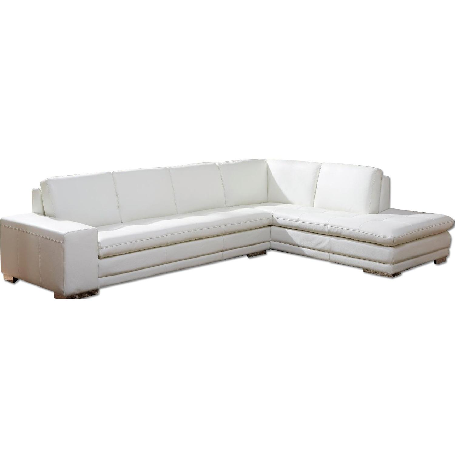 Top Grain Full Leather Modern Sectional Sofa in White w/ Tufted Seats & Chrome Legs
