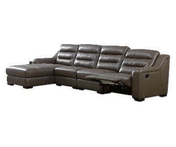 Modern Sectional in Elephant Gray Top Grain Leather w/ Matching Faux Leather Featuring Built-In Leggett and Platt Recliner