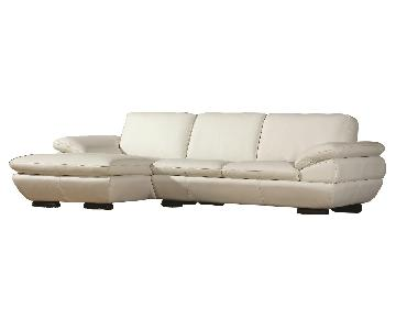 Contemporary Style Sectional in Off-White Top Grain Leather w/ Matching Faux Leather