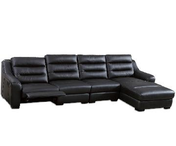 Modern Sectional in Black Top Grain Leather w/ Matching Faux Leather Featuring Built-In Leggett and Platt Recliner