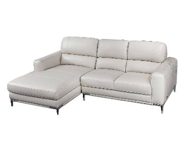 Compact Modern Style Sectional in Taupe Color Top Grain Leather w/ Matching Faux Leather & Chrome