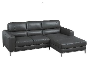 Compact Modern Style Sectional in Elephant Gray Color Top Grain Leather w/ Matching Faux Leather & Chrome