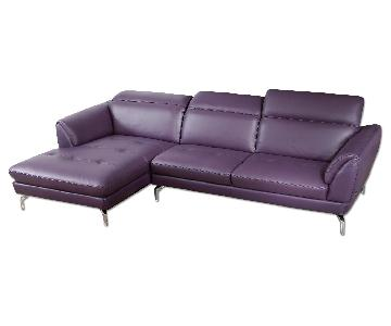 Contemporary Sectional in Purple Top Grain Leather w/ Matching Faux Leather, Tufted Seats & Adjustable Headrests