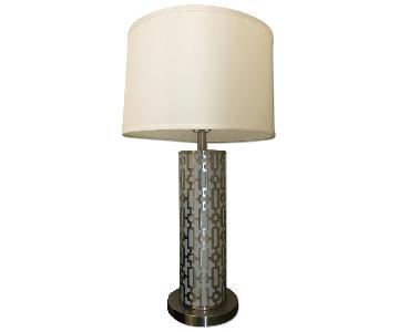Two Tone Silver & White Lamp